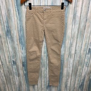 ZARA Polka Dot Skinny Cotton Stretch Pants sz 2